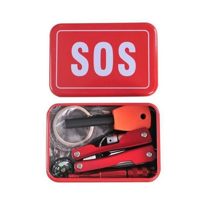Ensemble de kit de boite a outils d'equippement d'urgence de suivie d'auto-assistance de voyage de sports de plein air de camping
