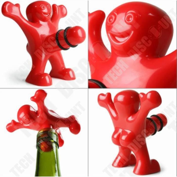 TD® Tire-Bouchon/Bouchon pour Vin Happy Man/ Ouvre-Bouteille Rouge en Forme de Bonhomme Heureux