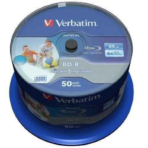 VERBATIM 43812 25Go BD-R Disque Vierge Blu-Ray - disques Vierges Blu-Ray (BD-R, 25 Go, 405 nm, Fuseau, 50 pièce (s))