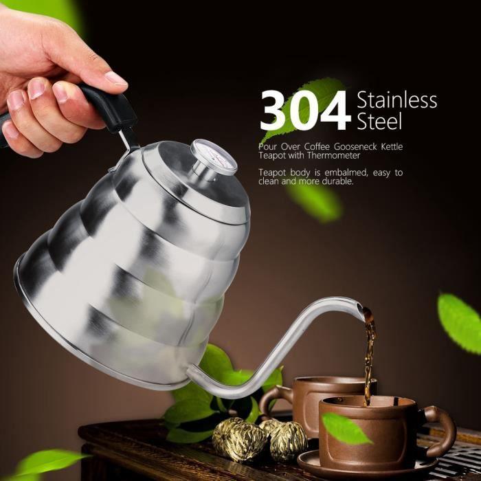 304 en acier inoxydable verser sur le café théière à col de cygne avec thermomètre maison 1.2L HB021