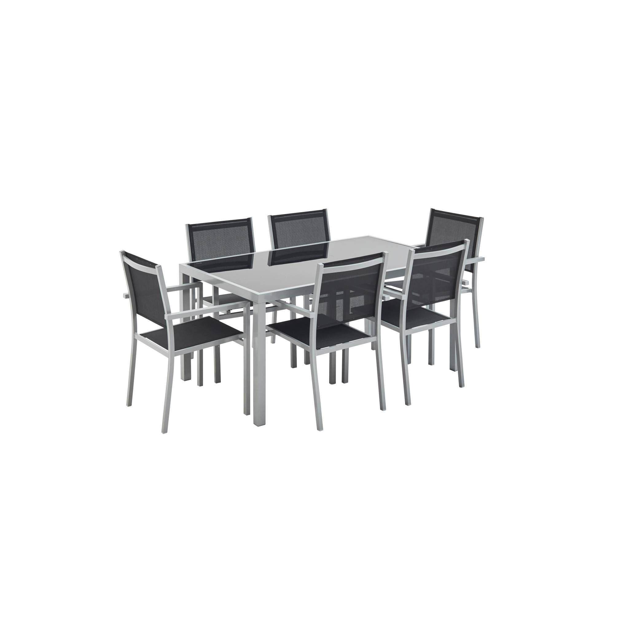 Ensemble table et chaise de jardin Salon de jardin Capua en aluminium noir