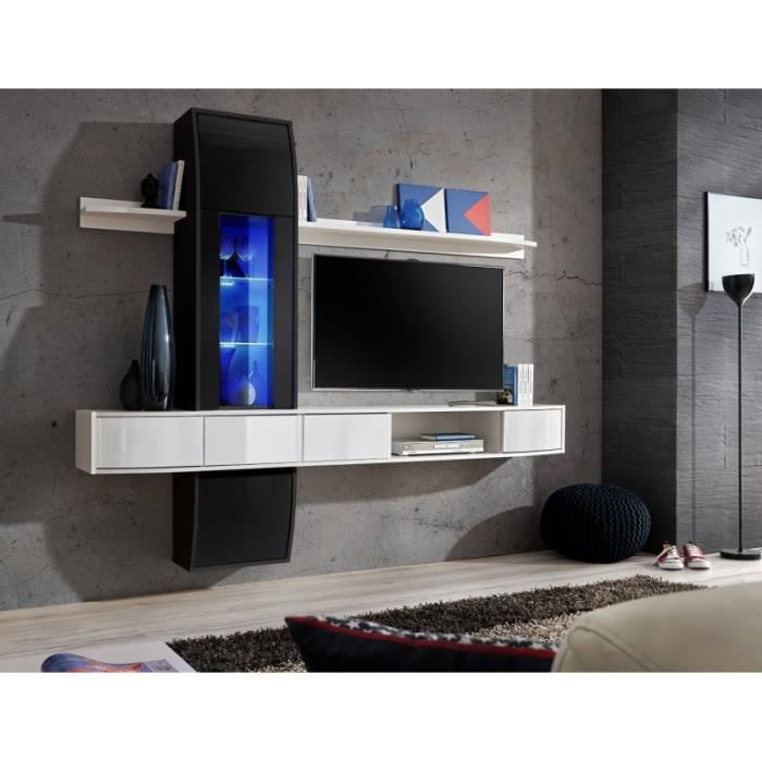 meuble de salon meuble tv design suspendu commette corps blanc mat fa ades blanches haute. Black Bedroom Furniture Sets. Home Design Ideas
