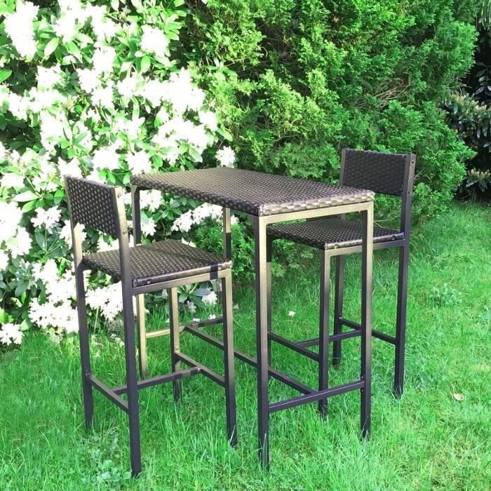 Set de 1 Table + 2 Chaises Table Mange-debout Table haute ...