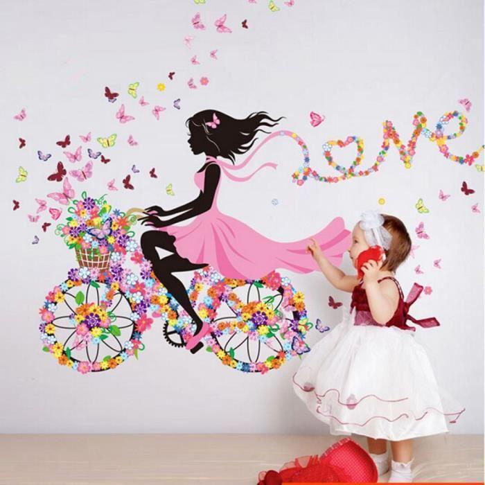 KLMQT Autocollant Mural Fleur F/ée Rose Color/é Arbre Branche Papillon Maison Sticker Mural Autocollant Fille Femmes Chambre Bricolage Enfants Chambre Chambre denfant Murale