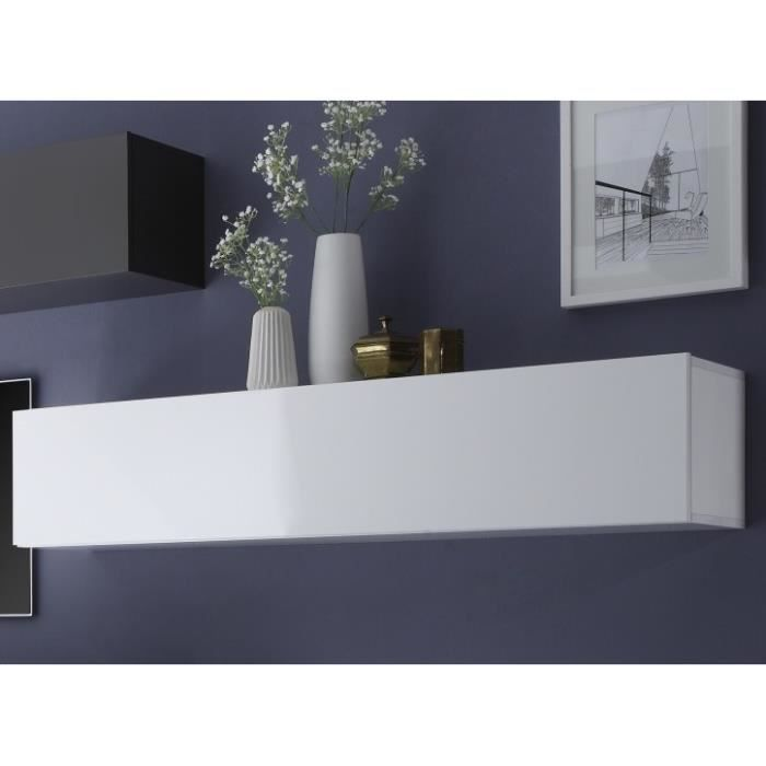 Meuble horizontal blanc laqu brillant new box meuble for Meuble blanc laque brillant
