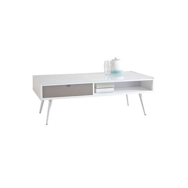 Table basse domino gris blanc achat vente table basse for Table basse blanc gris