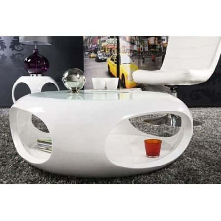 Table basse design verseau blanc laqu achat vente for Table basse blanche pas cher