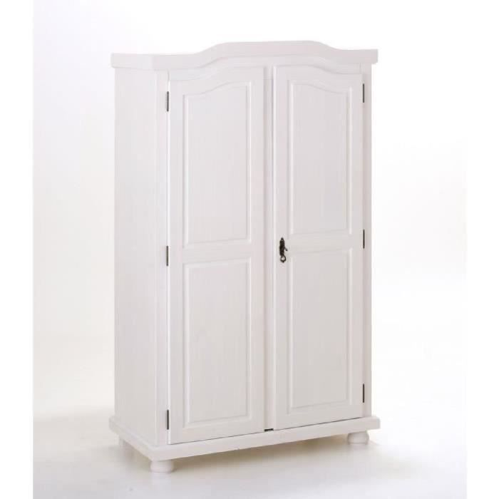 armoire 2 portes en pin massif teint blanc achat. Black Bedroom Furniture Sets. Home Design Ideas