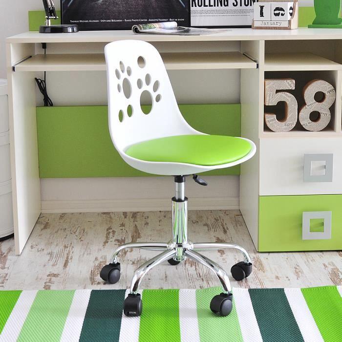 Fauteuil D Enfant Chaise De Bureau Foot 40 Cm Blanc Vert Design Moderne Réglable Pivotant Achat Vente Chaise De Bureau Blanc Plastique Résine Prolongation Soldes Cdiscount