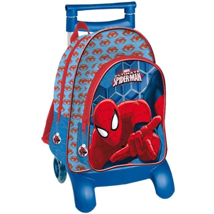 CARTABLE SPIDERMAN - Grand cartable à roulettes bleu 41 cm