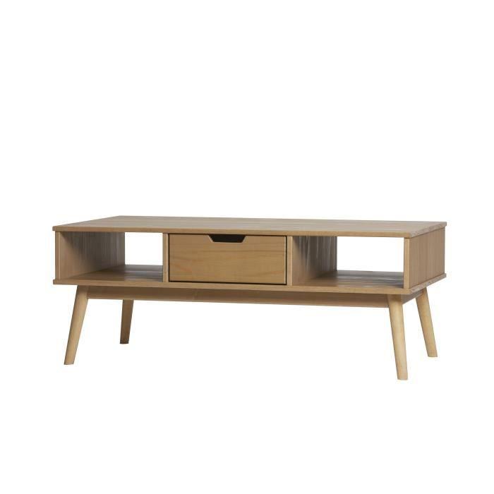 TABLE BASSE DELHI Table basse 1 tiroir - Décor ciré - L 110 x