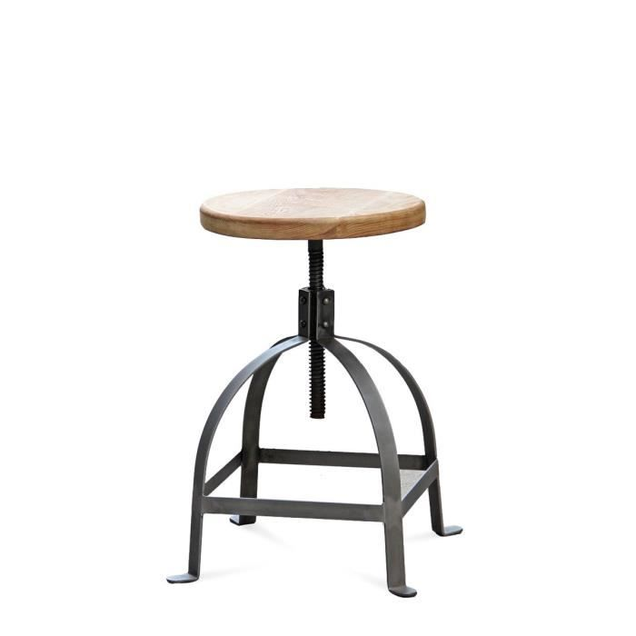 tabouret vis henri ford couleur bois massif achat vente tabouret de bar acier cdiscount. Black Bedroom Furniture Sets. Home Design Ideas