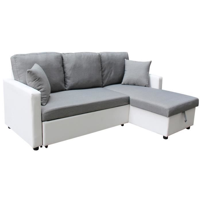 canap d 39 angle convertible tissu allen 4 places blanc et gris achat vente canap sofa. Black Bedroom Furniture Sets. Home Design Ideas