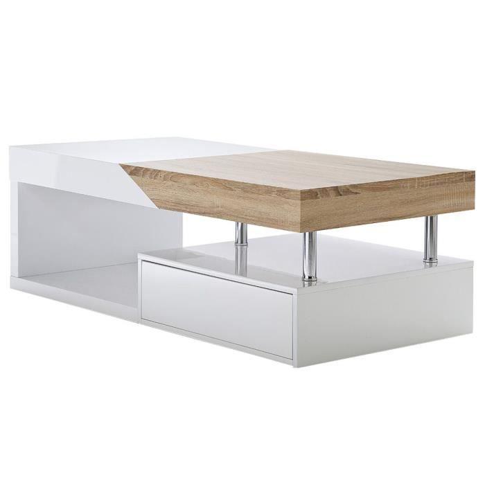 Table Basse Design avec Rangements et Structure en M/étal pour Salon Ch/êne