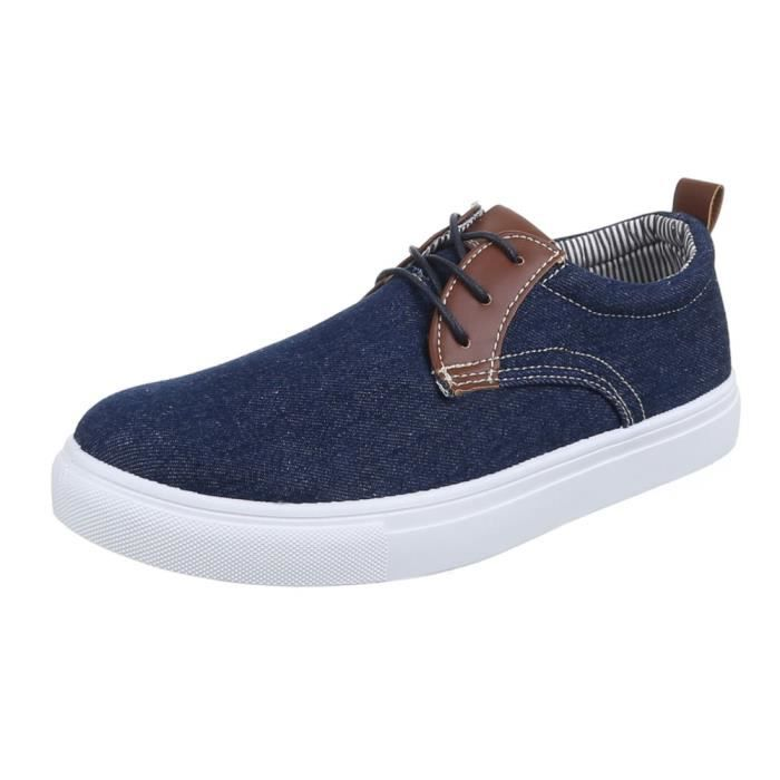 homme chaussures flâneurs loisirs chaussures lacer bleu 44
