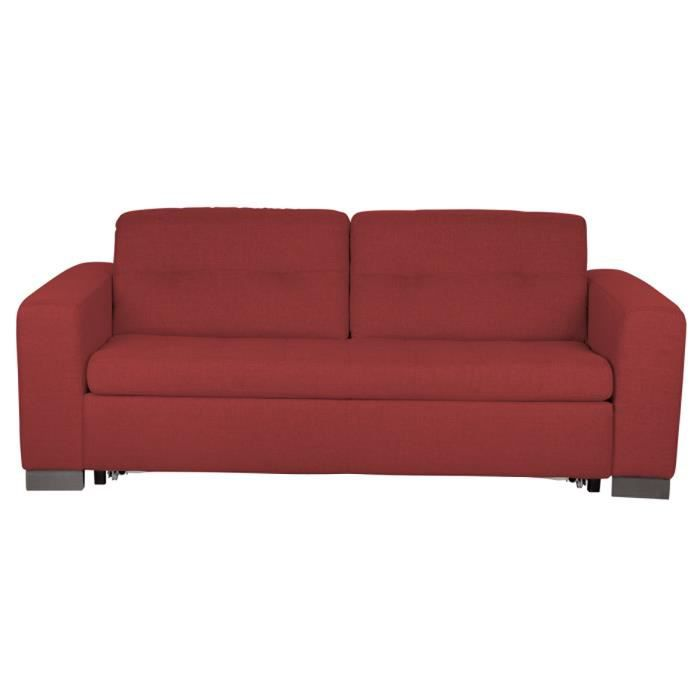 Canape lit 3 places convertible tweed rouge rom achat vente canap sof - Canape lit convertible 3 places ...