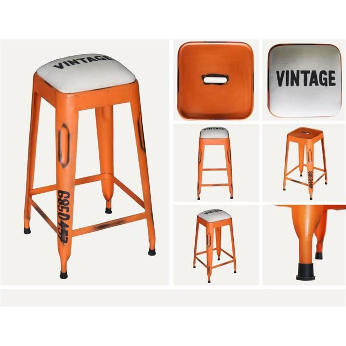 tabouret de bar swithome vintage orange achat vente. Black Bedroom Furniture Sets. Home Design Ideas