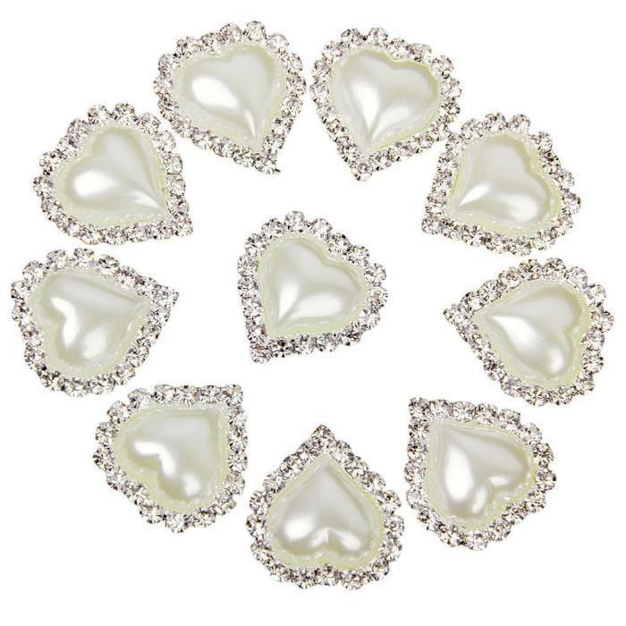 deux trous Effet de cristal 10 x 16 mm Rose à facettes en forme de cœur Boutons