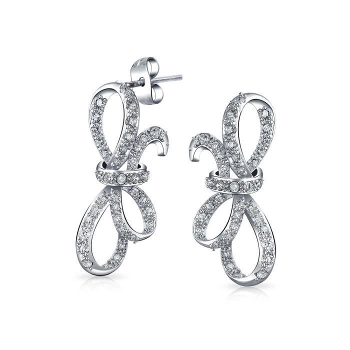 Bling Jewelry Ouvrir CZ latéralement Ribbon Bow Suite Nuptiale Stud Earrings plaquée Rhodium