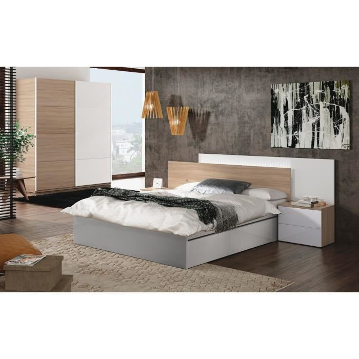 avina t te de lit style contemporain m lamin blanc brillant et d cor bois avec led 2 chevets. Black Bedroom Furniture Sets. Home Design Ideas