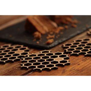 SOUS-VERRE - BOUTEILLE  Dessous de Verre en Bois Bambou, table mat pour co