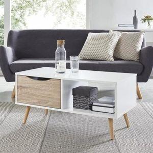 TABLE BASSE  Table basse Design nordique blanc et chêne avec p