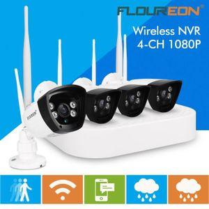 CAMÉRA DE SURVEILLANCE Floureon 4CH Wireless CCTV 1080 P DVR Kit IP Camér