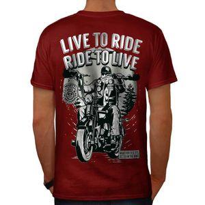 T-SHIRT Vivre À Balade Biker Slogan Men  T-shirt à col en