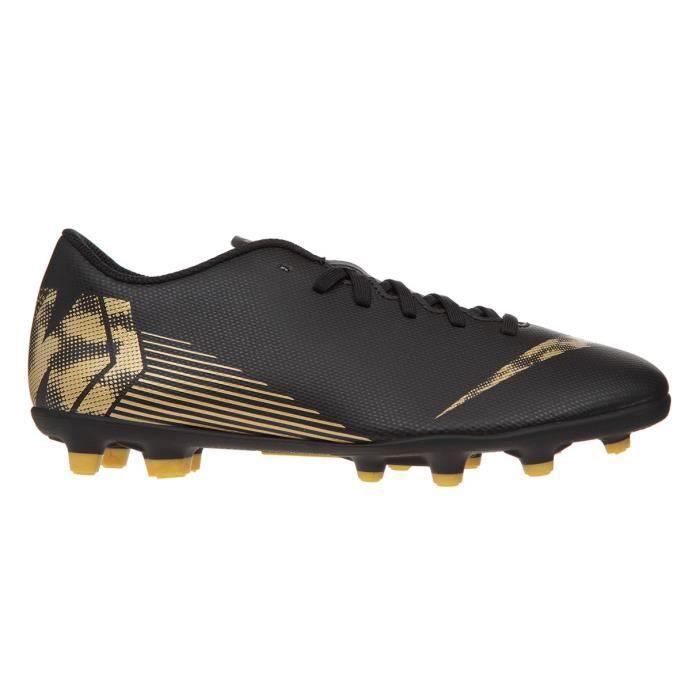 NIKE Chaussures de football Vapor 12 Club FG et MG - Noir et or