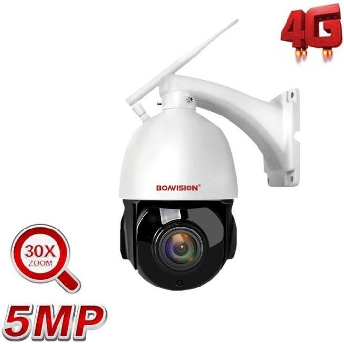 Caméra de surveillance HD 5MP-4G, tracking automatique et ia, zoom 30x, système audio bidirectionnel et infrarouge (80m) + 125G