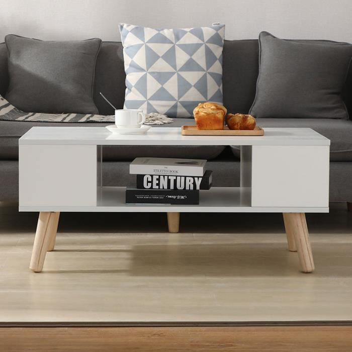 LAIZERE® Table Basse Blanche - Style Scandinave