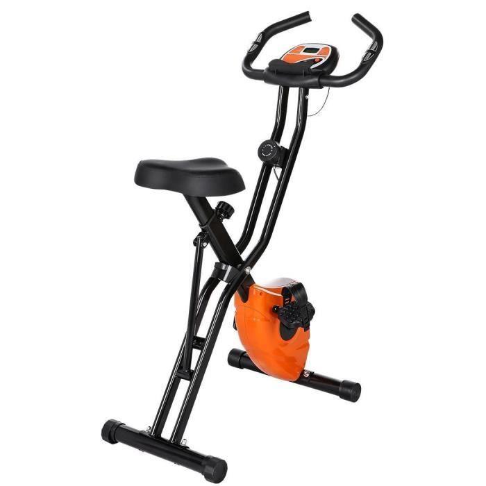 Vélo d'appartement Pliable - Bike Vélo Dossier - 10 Niveaux de Résistance - Écran LCD - Capteurs de Pouls intégrés - Orange