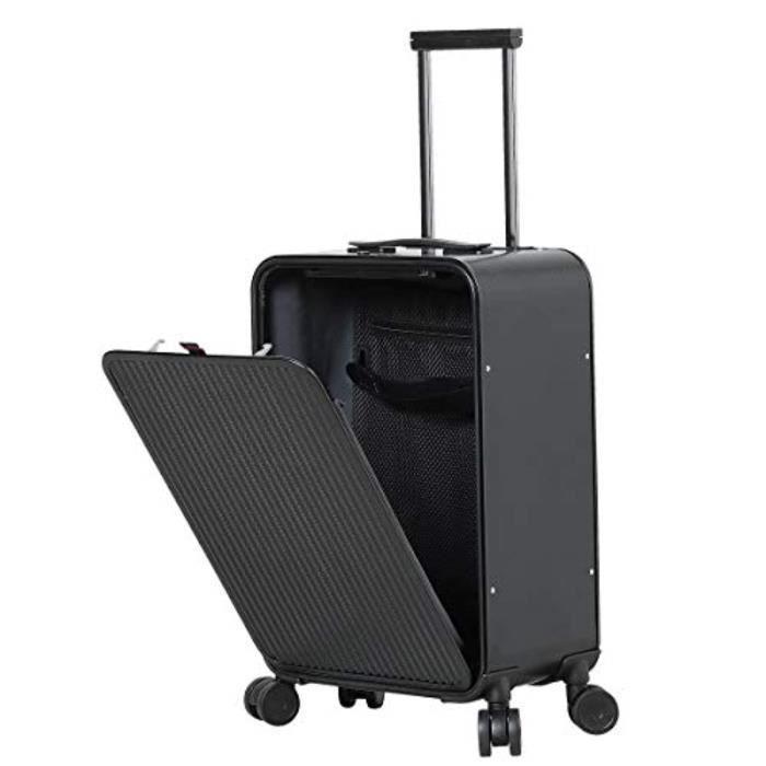 Sac De Voyage IBOVV Aluminium bagages, Carry Cabin Valise 22x14x9 Avec TSA Serrure à roulettes multidirectionnelles (argent texture