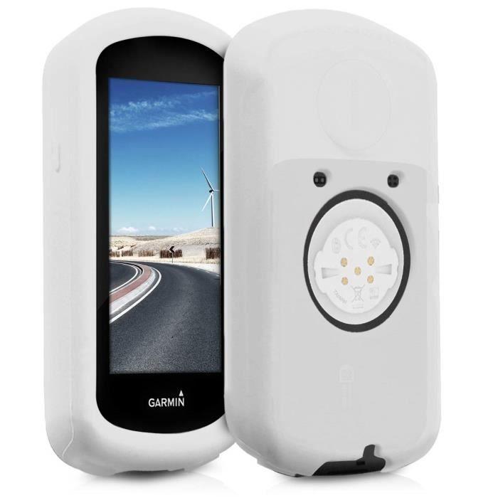 kwmobile Housse GPS vélo - Accessoire pour Garmin Edge 1030 - Protection boitier navigateur - Étui en Silicone Blanc