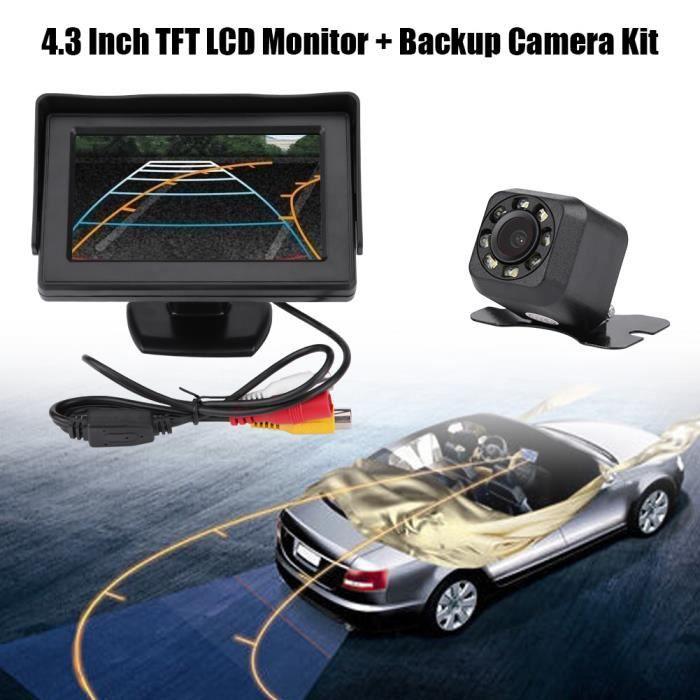 Caméra de recul de recul de vue arrière de voiture sans fil Kit de moniteur LCD TFT 4,3 pouces Vision nocturne -XINAHB029