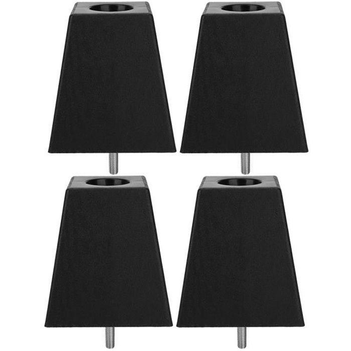 Pied de meuble 4pcs Jambes de canapé noir grain de bois PP plastique M10 vis accessoires de meubles de meuble-GUA