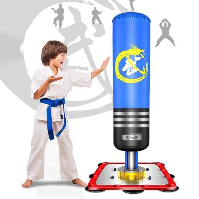 Sac de Frappe sur Pied Boxe Enfant (3-14 ans) Debout Libre Robuste Sac de Punching Kick Appareil entraînement Bleu