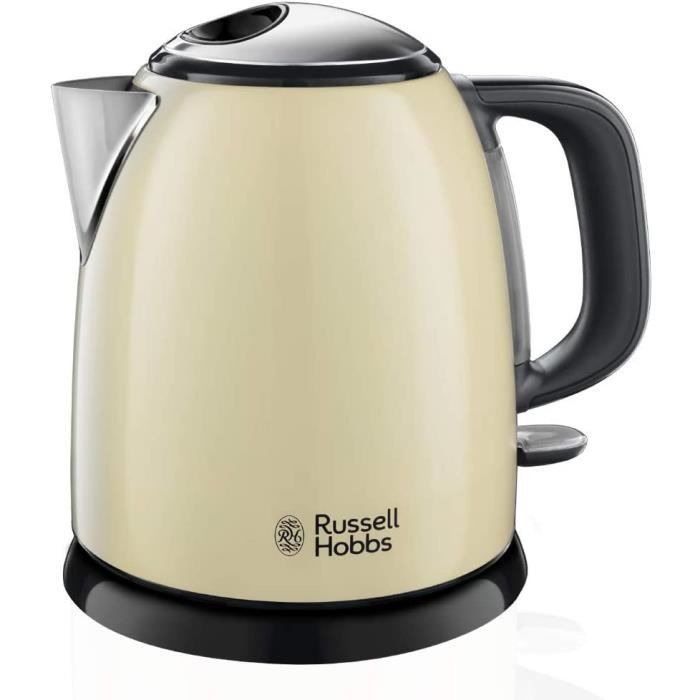 Russell Hobbs Bouilloire Compacte 1L, Ebullition Rapide, Filtre Anti-Calcaire Amovible Lavable - Crème 24994-70 Colours Plus