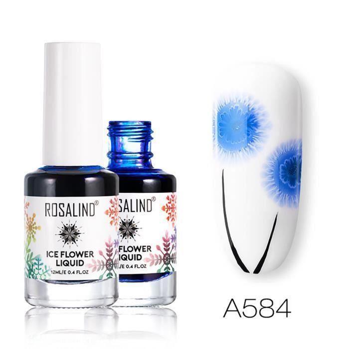Nail art vernis a ongles ROSALIND Système de fleurs de glace Liquide Neige Fla kes Base blanche Manucure Décoration FKT2