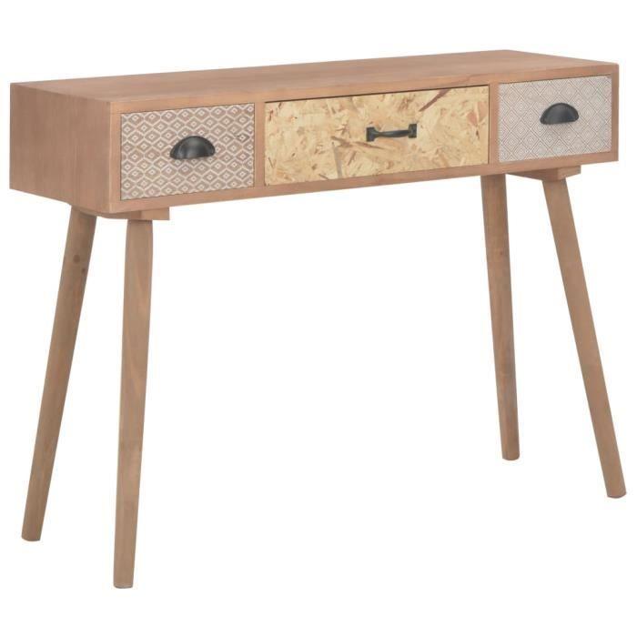 ♪4727 Console avec 3 tiroirs Classique - Table console Table d'appoint Table de Salon 100 x 30 x 73 cm Bois de pin massif MEUBLE®