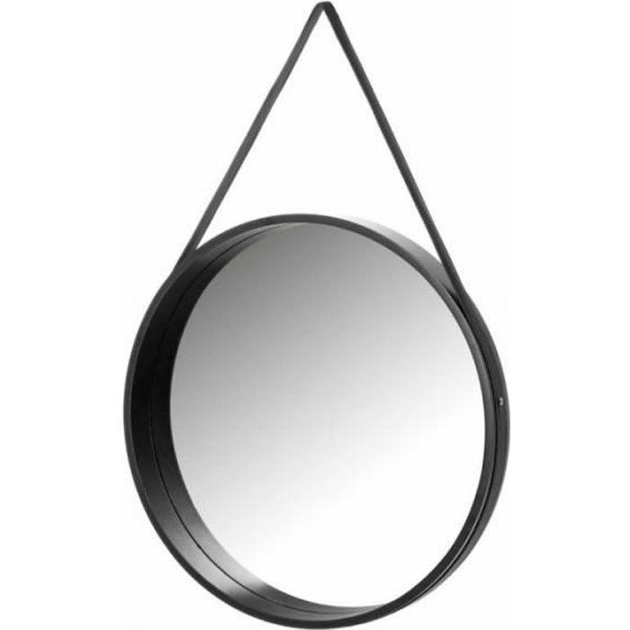 Miroir Suspendu Rond en Bois Noir - Diamètre 50cm 0,000000