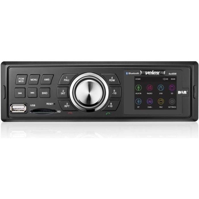 Velex DAB + Radio de voiture Head Unit l'interface de l'Autoradio stéréo AM-FM-MP3-4 x 45 W Bluetooth (Noir)
