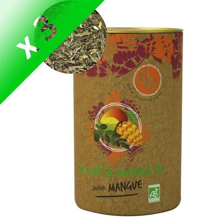 [LOT DE 3] NU Thé Vert & Moringa Bio Saveur Mangue 90g