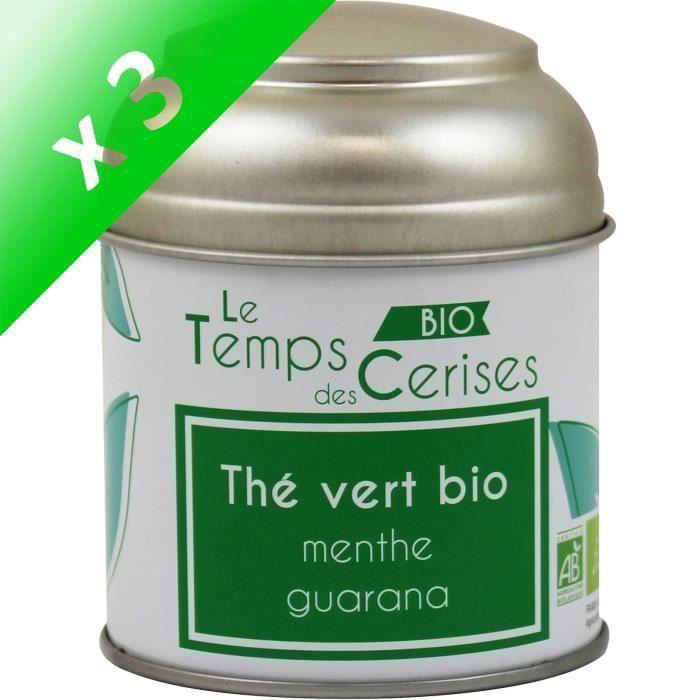 [LOT DE 3] LE TEMPS DES CERISES Thé Vert MenThé Guarana Bio Boite Métal 30g