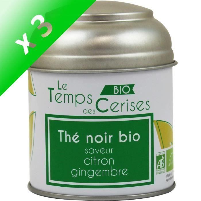 [LOT DE 3] LE TEMPS DES CERISES Thé Noir Citron Gingembre Bio Boite Métal 30g