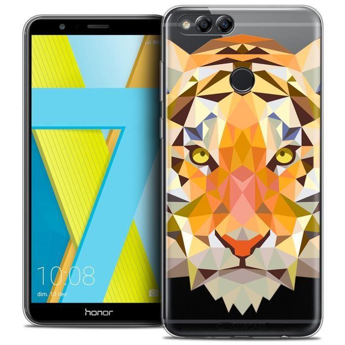 Coque Gel Honor 7X (5.9 ) Extra Fine Polygon Animals - Tigre