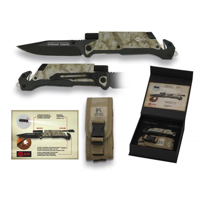 Couteau tactique avec système FOS, K aluminium, lame en acier inoxydable de 9,5 cm, camo desert comprend lampe de poche et silex
