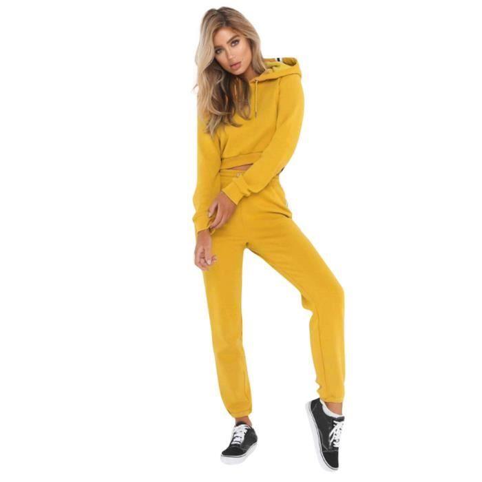Hotskynie®2 Pcs Femmes Dames Survêtement Hoodies Sweatshirt Pantalon Ensembles Sport Wear Casual Costume