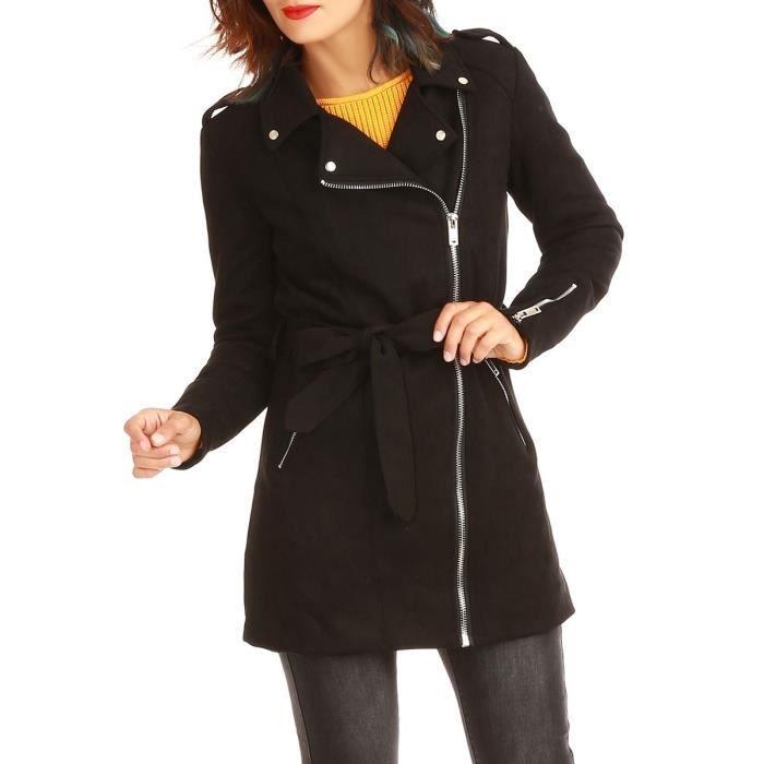Manteau en suédine noir