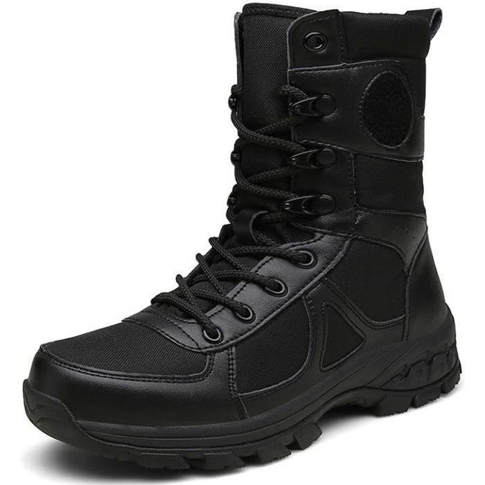 Chaussures de Randonnée Hommes Bottes Militaire Cuir Patrouille Combat Armée Tactique Recrues Armée Militaire Chaussure